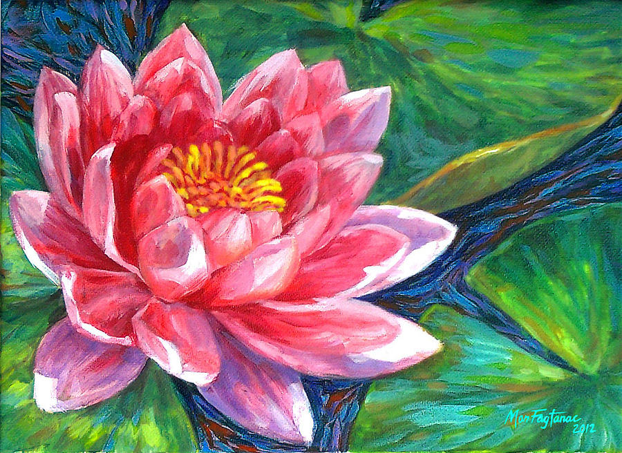 Red Lotus Flower Painting By Mon Fagtanac