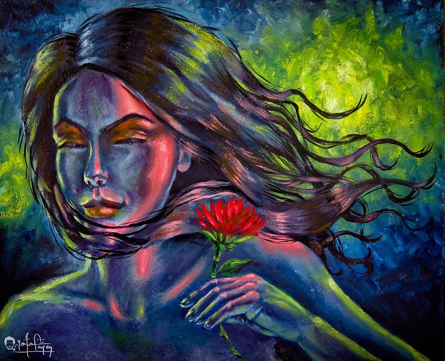 Portrait Painting - Red Lotus by Yonan Fayez