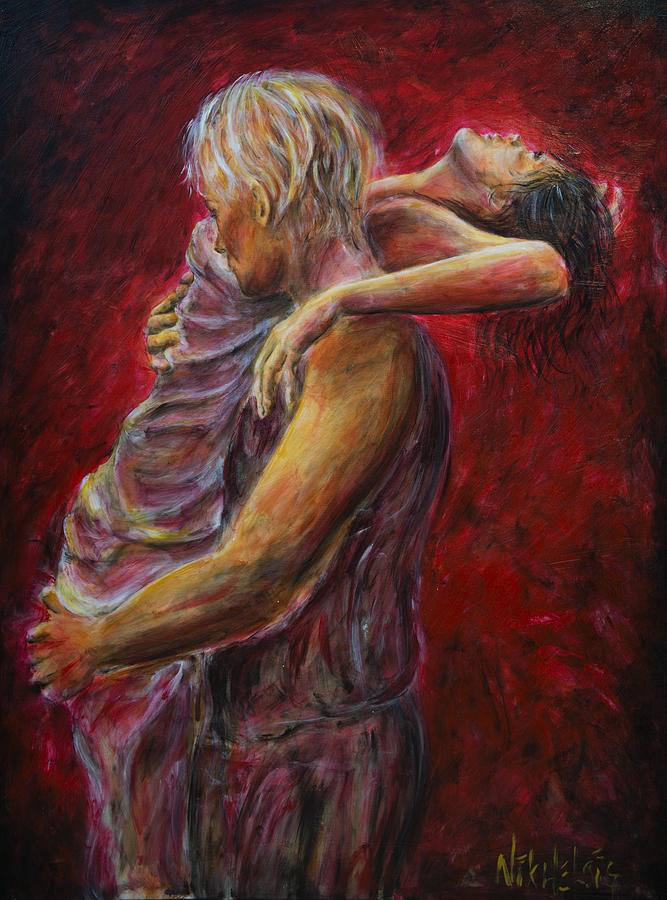 Lovers Painting - Red Lovers 03 by Nik Helbig