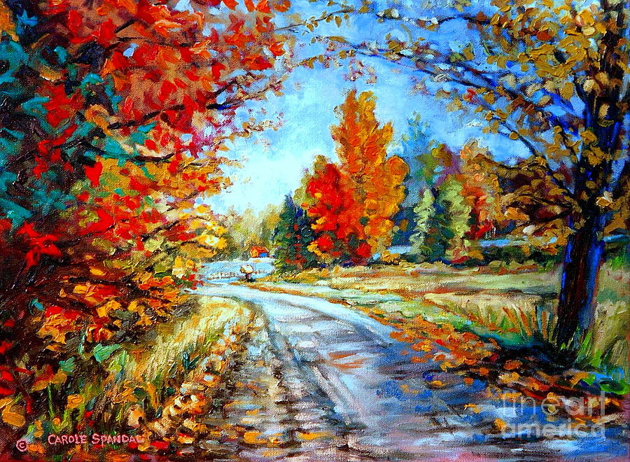 Red Maples Autumn Landscape Road Through Quebec Painting