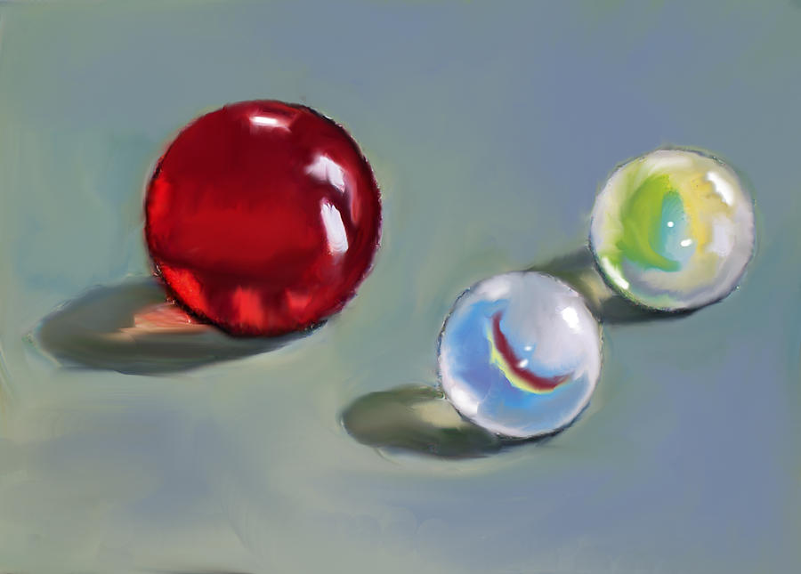 Marbles Painting - Red Marble And Friends by Joyce Geleynse