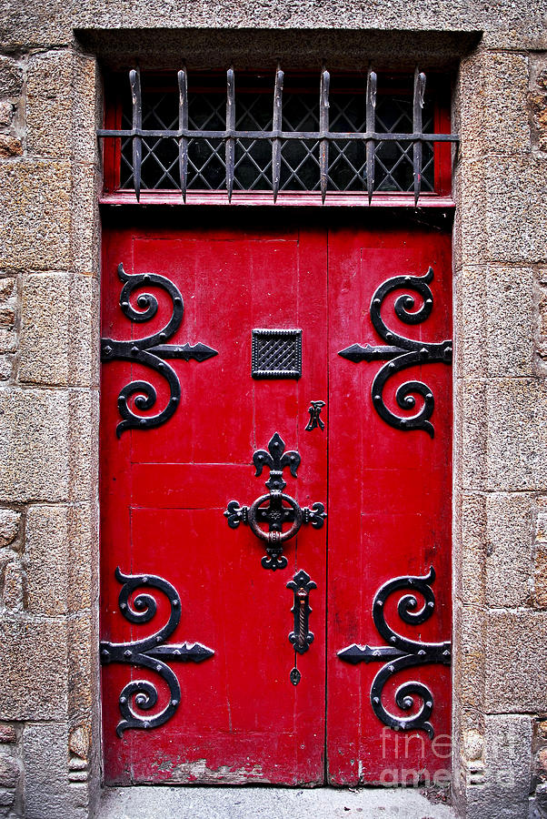 Mont Photograph - Red Medieval Door by Elena Elisseeva