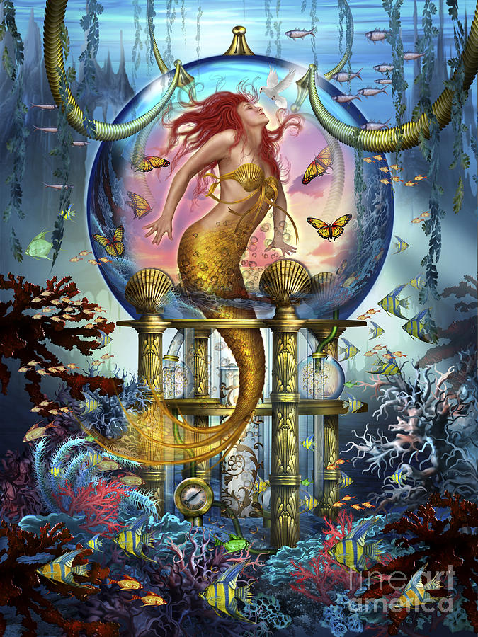 Woman Greeting Cards Digital Art - Red Mermaid by Ciro Marchetti