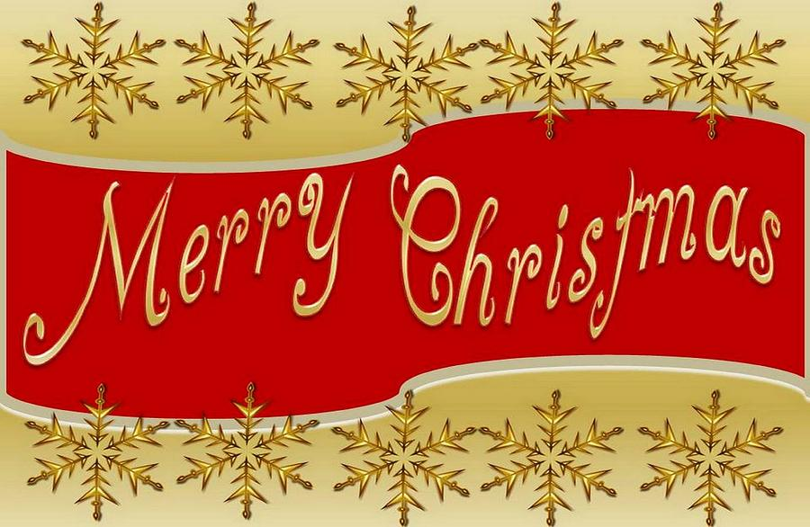 red merry christmas banner on gold with snowflakes digital art by