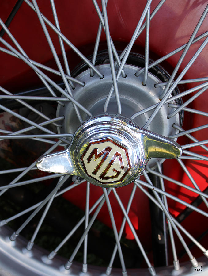 Auto Photograph - Red Mg Wire Spoke Rim by Mark Steven Burhart