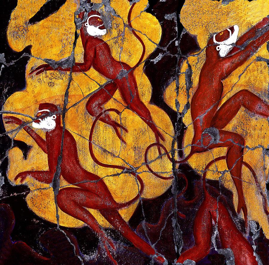 Monkeys Painting - Red Monkeys No. 3 - Study No. 1 by Steve Bogdanoff