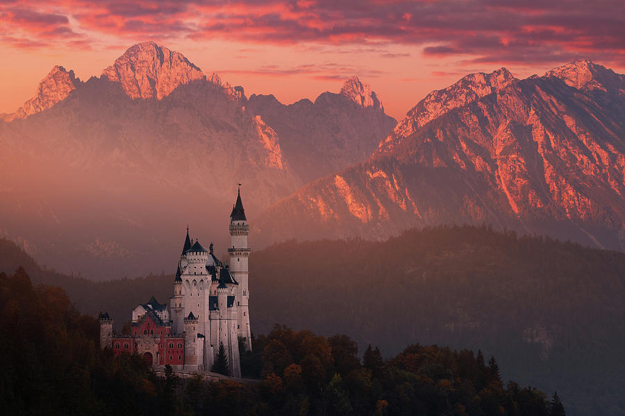 Autumn Photograph - Red Morning Above The Castle by Daniel ?e?icha