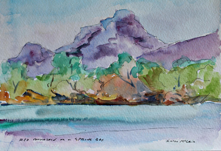 Landscape Painting - Red Mountain In Spring by Karen McLain