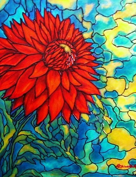 Flower Painting - Red Mums by Rae Chichilnitsky