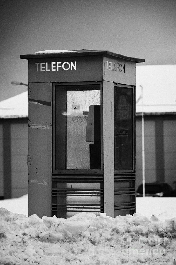Red Photograph - Red Norwegian Telenor Telefon Box Buried In The Snow Norway Europe by Joe Fox