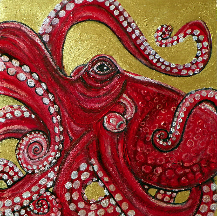 Red Octopus Painting By Lynnette Shelley