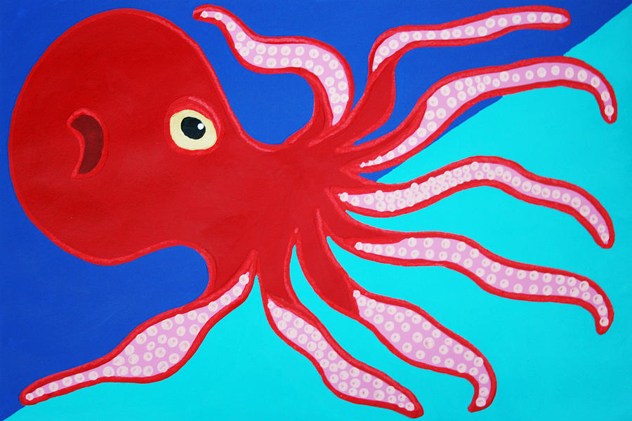 Octopus Painting - Red Octopus by Matthew Brzostoski