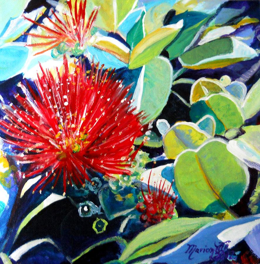 Red Ohia Lehua Flower Painting by Marionette Taboniar