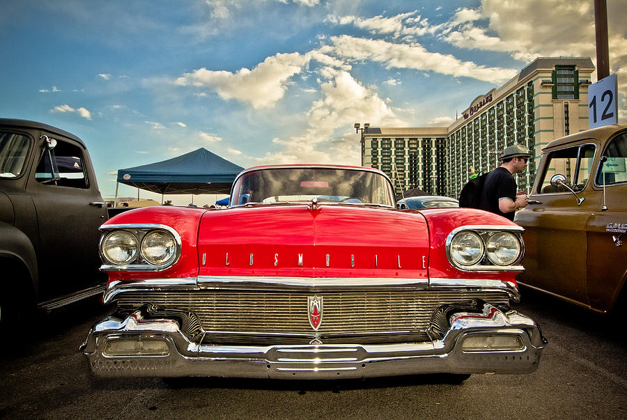 Las Vegas Photograph - Red Oldsmobile  by Merrick Imagery