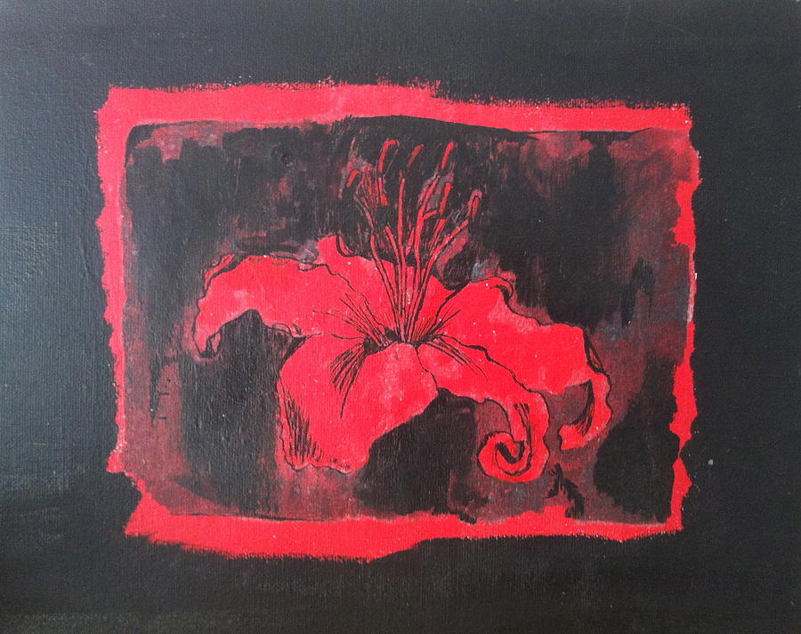 Abstract Painting - Red On Black by Megan Washington