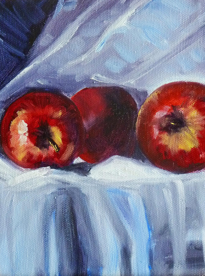 Red Apples Painting - Red On White by Nancy Merkle