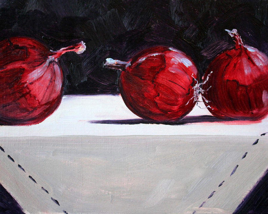 Red Painting - Red Onions by Nancy Merkle