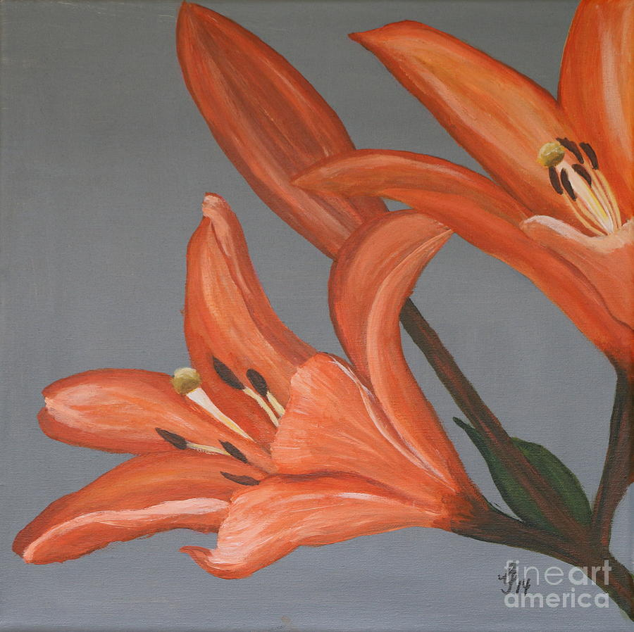 Painting Painting - Red Orange Daylily by Christiane Schulze Art And Photography