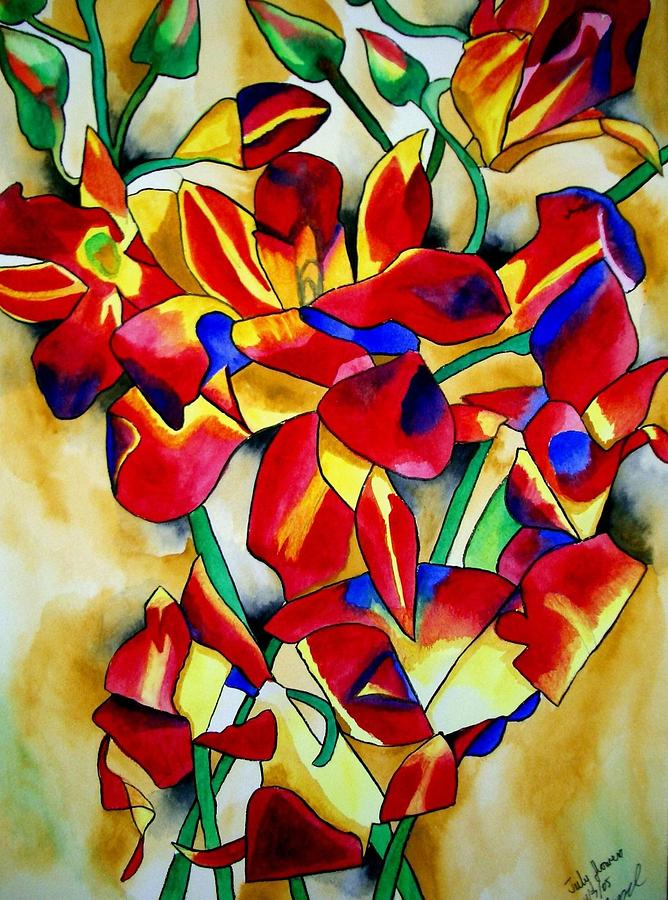 Orchids Painting - Red Orchids by Sacha Grossel