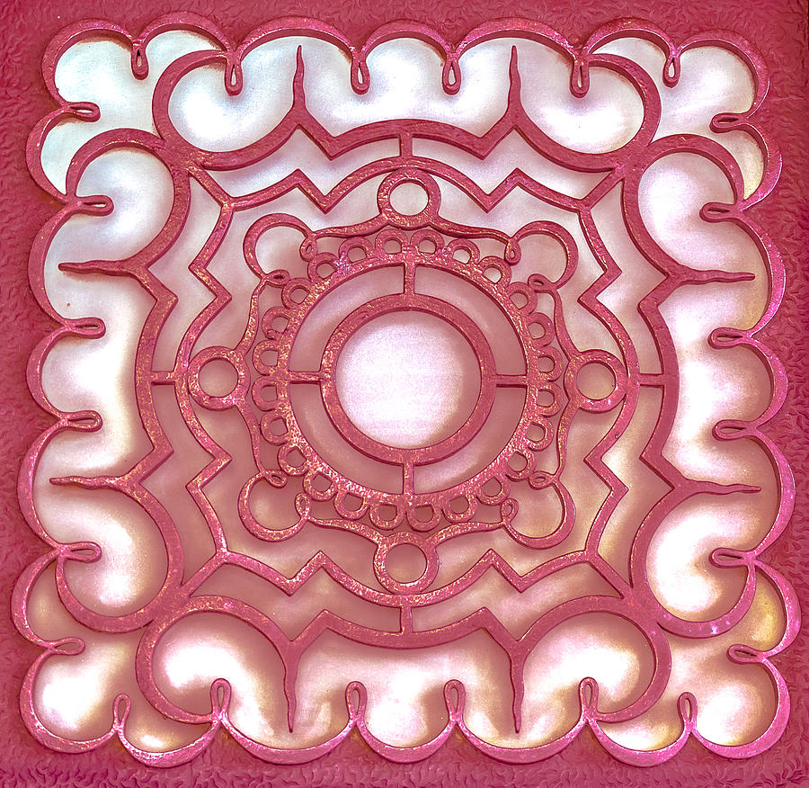 Shape Photograph - Red Ornamental Design. by Slavica Koceva