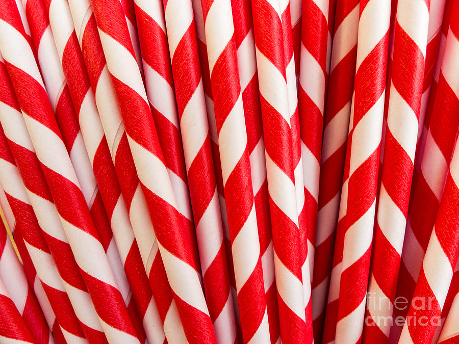 Red Photograph - Red Paper Straws by Edward Fielding