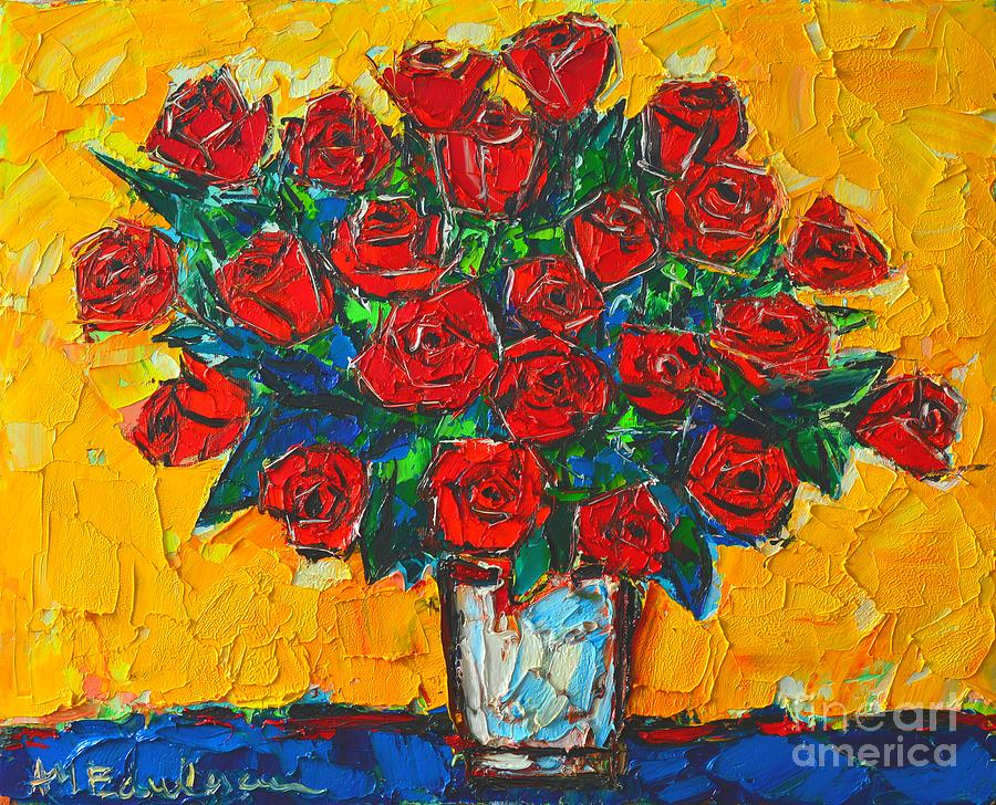Roses Painting - Red Passion Roses by Ana Maria Edulescu