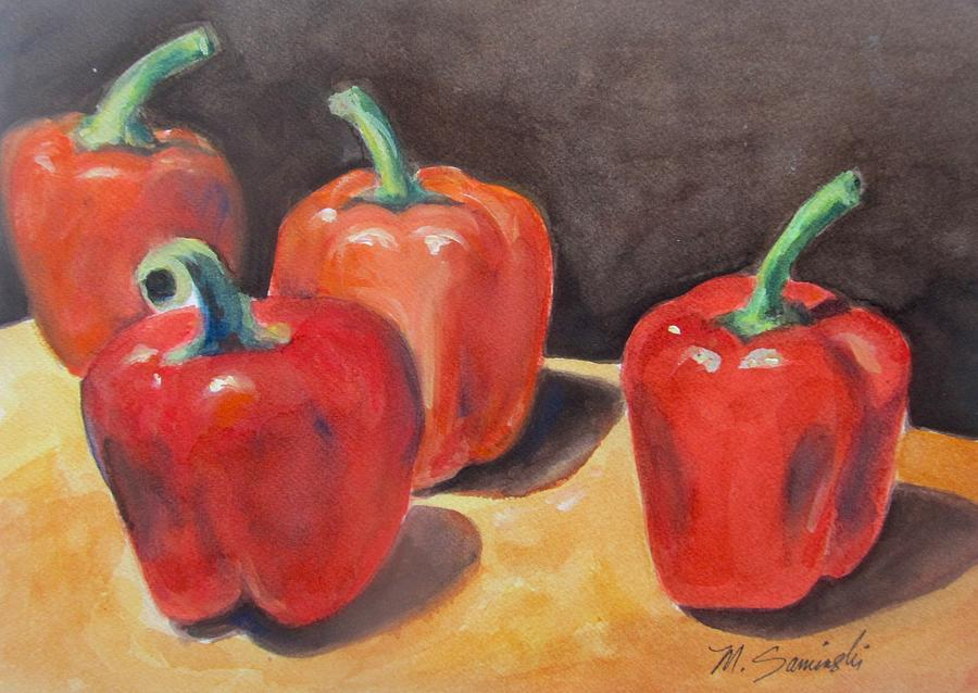 Red Peppers Painting - Red Peppers by Melinda Saminski