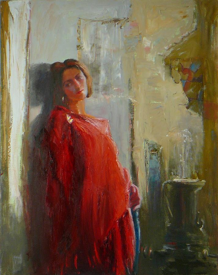 Red Poncho Painting - Red Poncho by Irena  Jablonski