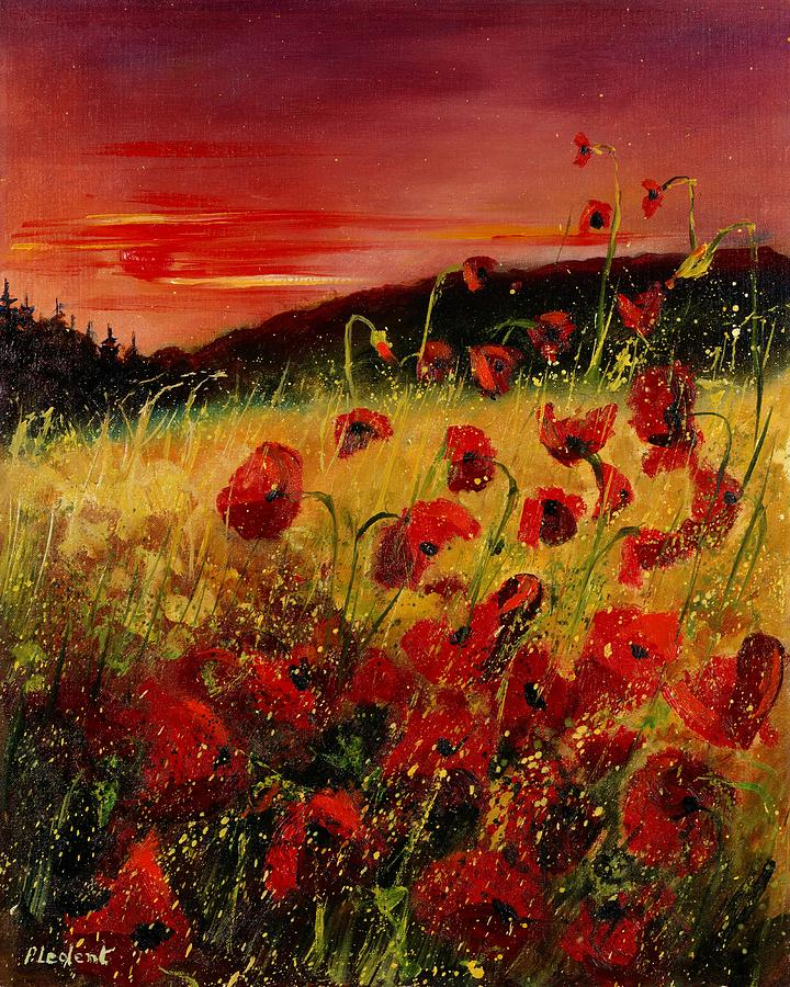 Poppies Painting - Red Poppies And Sunset by Pol Ledent