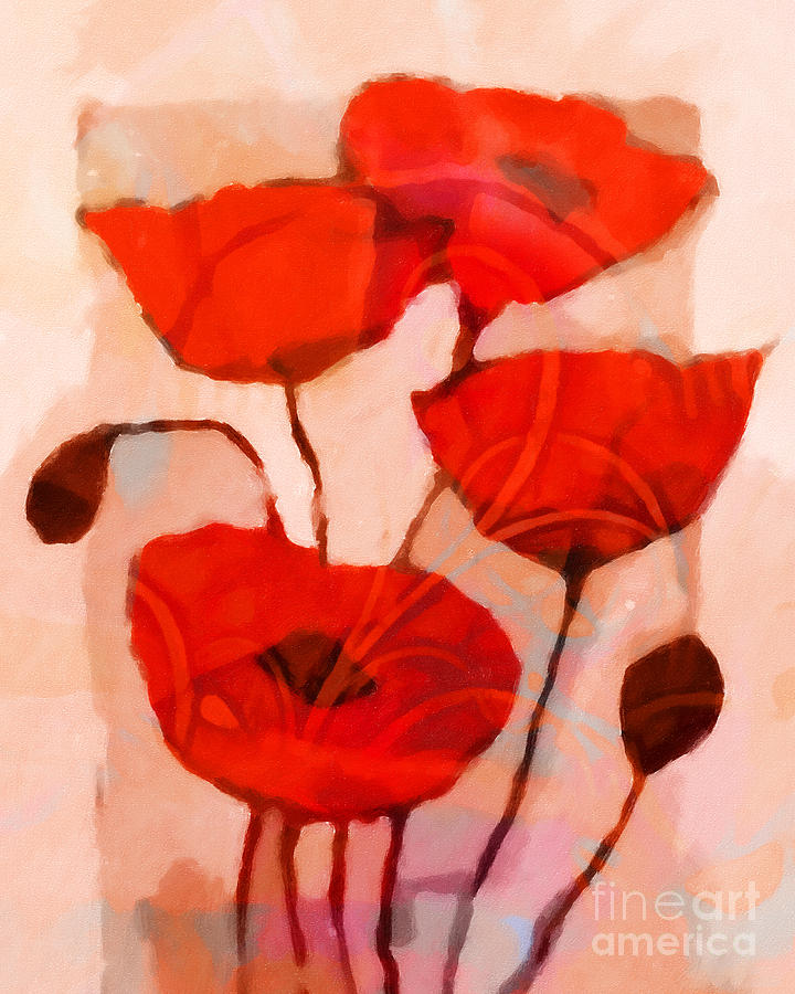 Poppies Painting - Red Poppies Art by Lutz Baar