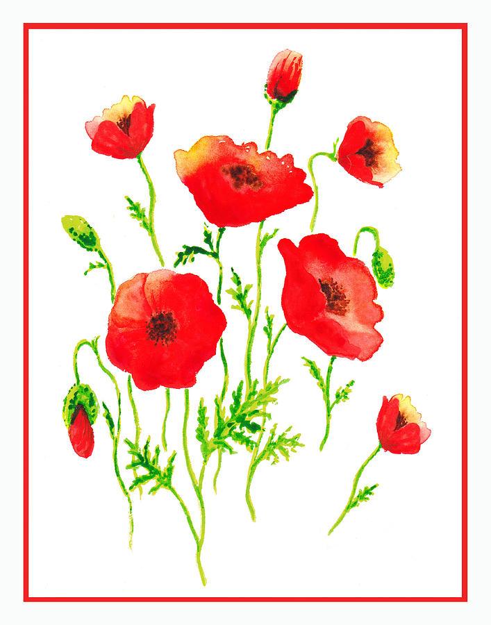 Poppies Painting - Red Poppies Botanical Design by Irina Sztukowski