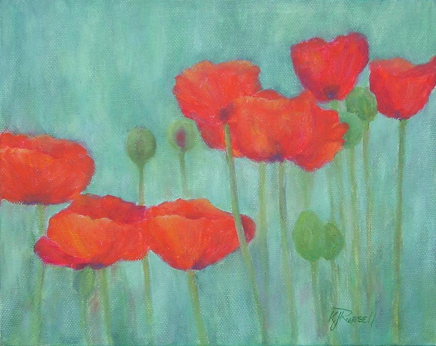 Red Poppies Painting - Red Poppies Colorful Poppy Flowers Original Art Floral Garden  by K Joann Russell
