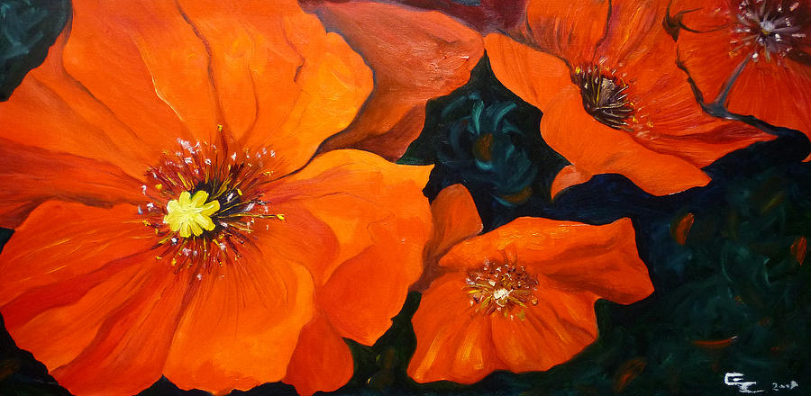 Painting Painting - Red Poppies by Ekaterina Chernova