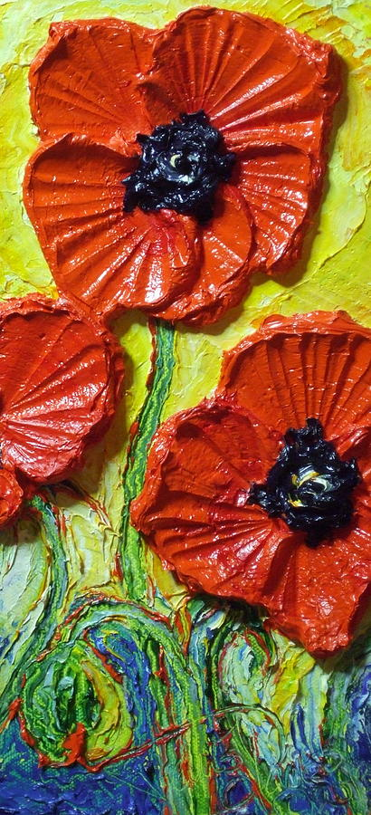Red Poppy Painting Painting - Red Poppies II by Paris Wyatt Llanso