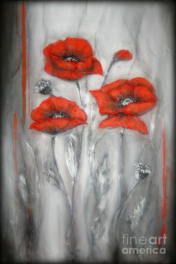 Poppies Painting - Red Poppies In Silver Dream by Elena  Constantinescu
