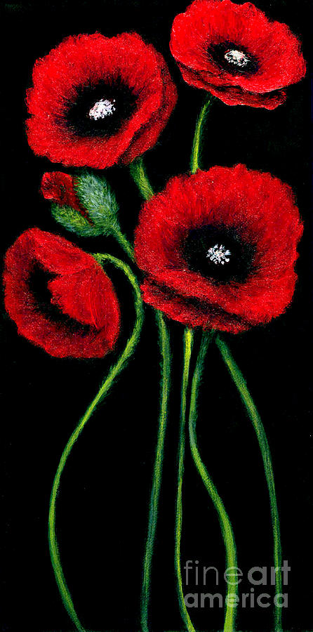 Red poppies on black painting by c fanous for Acrylic painting on black background