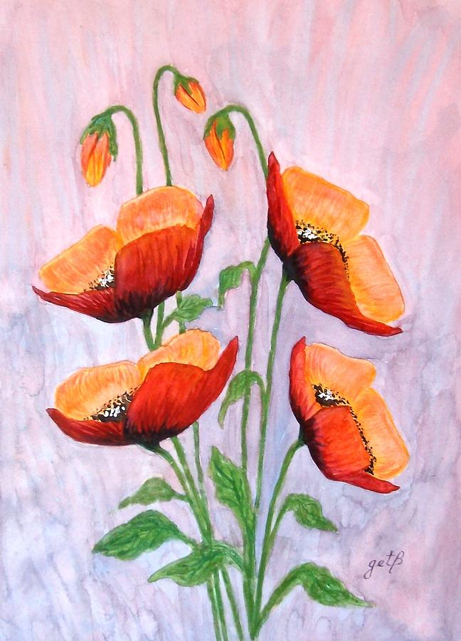Red Poppies Original Watercolor Painting Painting By
