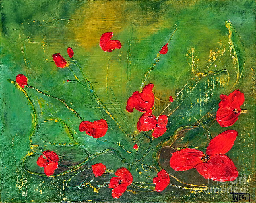 Acrylic Painting - Red Poppies by Teresa Wegrzyn