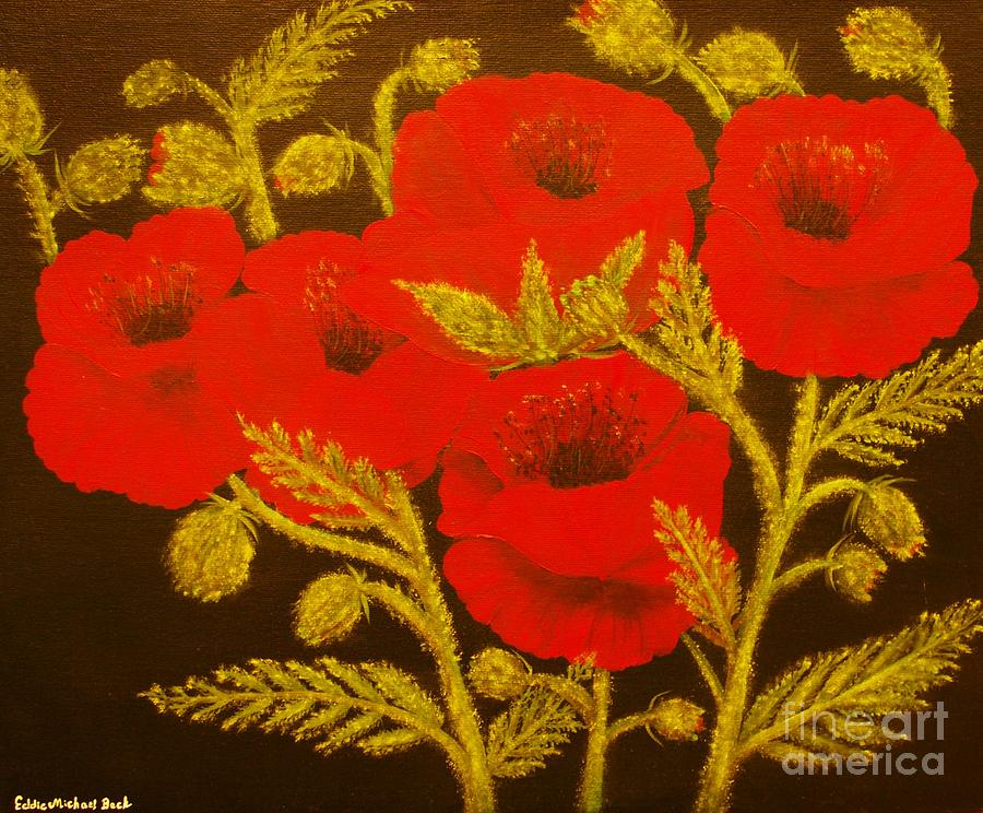 Poppy Painting - Red Poppy-original Sold-buy Giclee Print Nr 31 Of Limited Edition Of 40 Prints  by Eddie Michael Beck