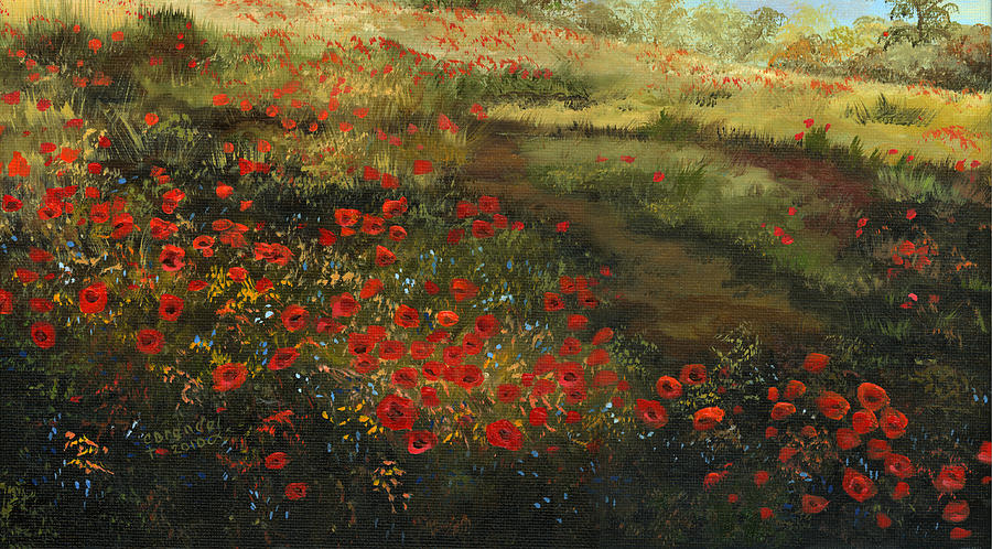 Red Poppy Field Painting by Cecilia Brendel