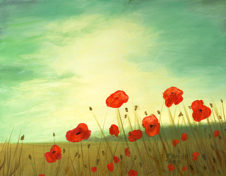 Red Poppy Field With Green Sky Painting by Cecilia Brendel