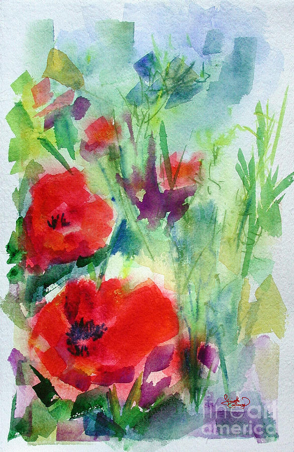 Red Poppy Heads Painting by Ginette Callaway