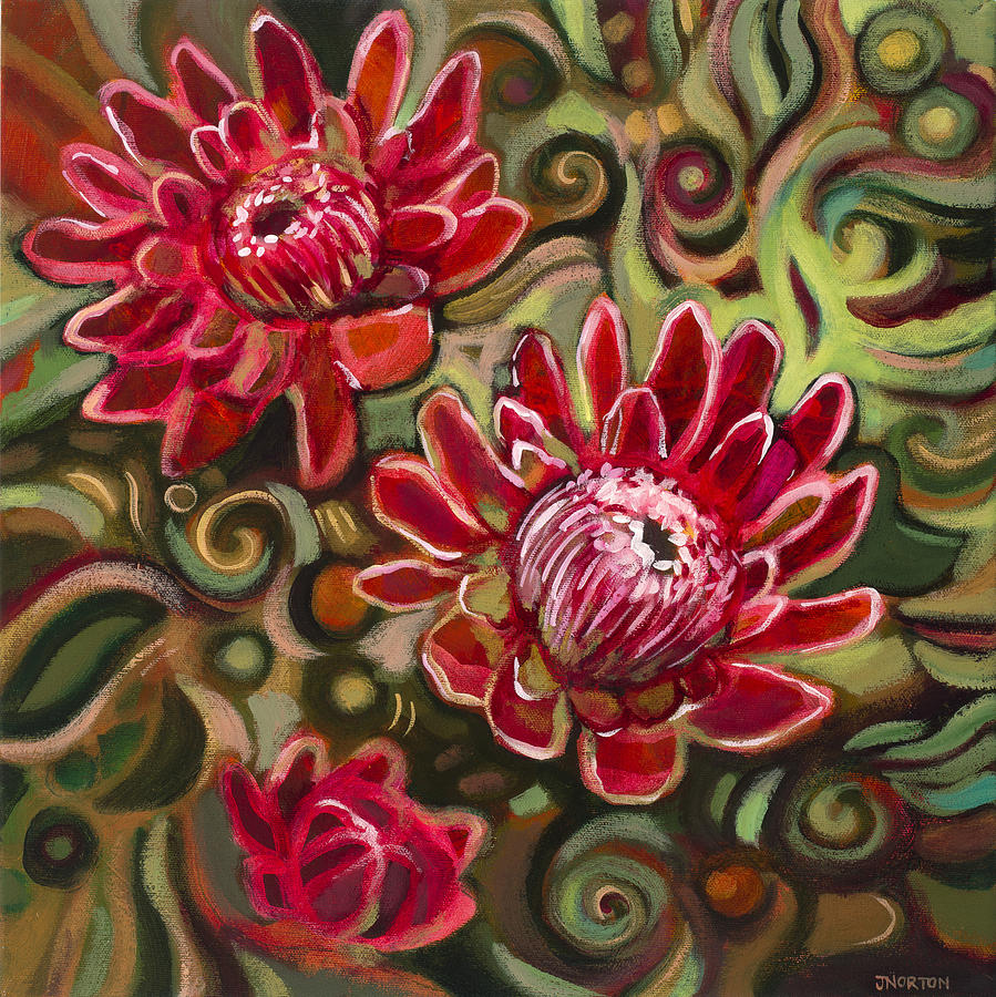 Protea Painting - Red Proteas by Jen Norton