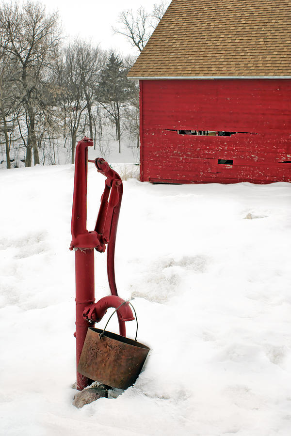 Pump Photograph - Red Pump In Winter by Nikolyn McDonald