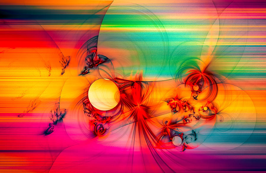 Abstract Digital Art - Red Rabbit by Modern Abstract