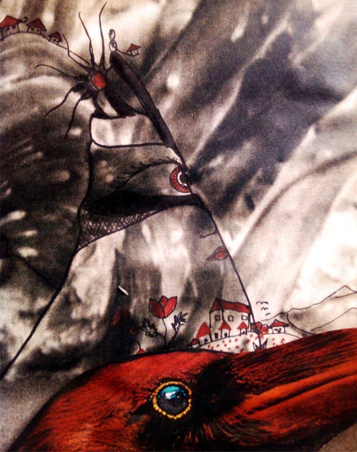 Raven Greeting Card Framed Prints Drawing - Red Raven by Branko Jovanovic