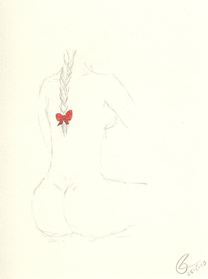 Girl Drawing - Red Ribbon by Paolo Marini