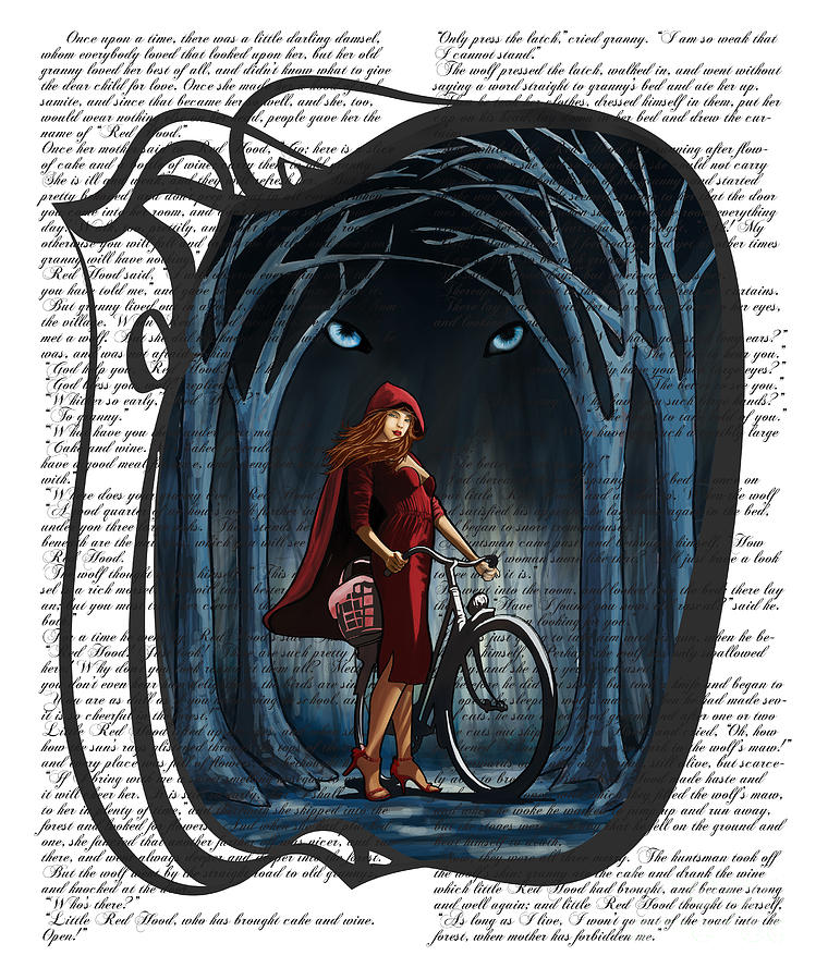 Red Riding Hood Digital Art - Red Riding Hood With Text by Sassan Filsoof
