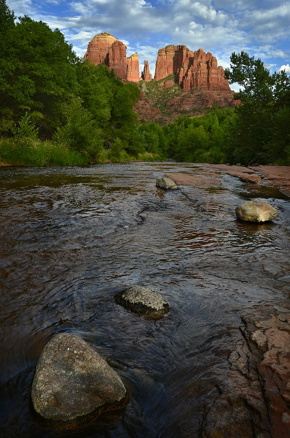 Cathedral Photograph - Red River Crossing Under Cathedral Rock by Dave Dilli