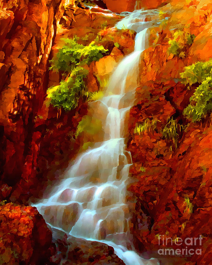 Fiery Painting - Red River Falls  by Peter Piatt
